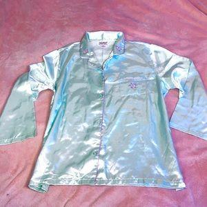 Silky Powder Blue Pajama Blouse